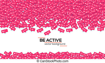 Icons of social media network activity. Notification of likes, comments, follow and followers. Abstract background with falling icons Sign of social network activity signs. Vector 3D illustration