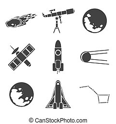 Icons of space and astronomy.