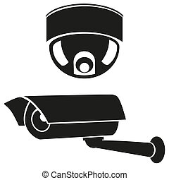 icons of surveillance cameras - black and white icons of...