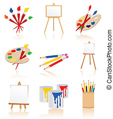 Icons of the artist3 - Set of icons for the artist. A vector...