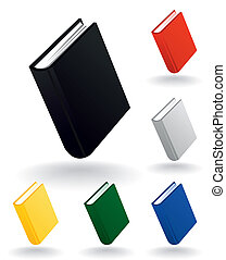 Icons of the book of different colours. A vector illustration