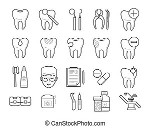 Icons of tooth, dental equipment