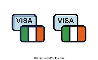 Visa to Ireland - Icons of Tourist Visa to Ireland, Vector...