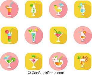 icons of tropical cocktails