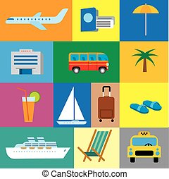 icons of tropical travel concept, sea and ocean resort, cruise and journey