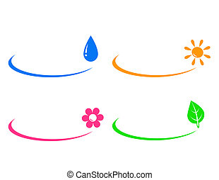 icons of water drop, sun, flower an