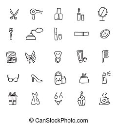 Icons of women clothes and cosmetics hand drawn doodle in style. Vector illustration.