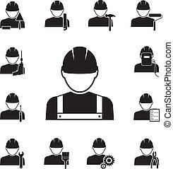 Black silhouette vector icons of workmen coupled with different tools including drill spanner paint brush roller pliers saw welder hammer foreman inspector with notes screwdriver and gears