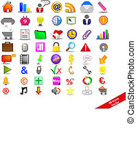 Icons on the business - New Set with 56 colorful icons on ...