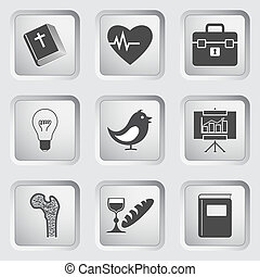Icons on the buttons for Web Design. Set 2