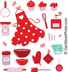 Icons or accessories for housewife isolated on white - Retro...