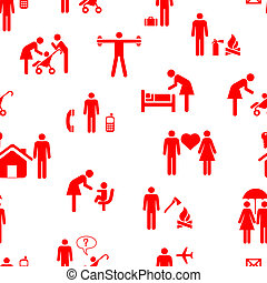 Icons - People, seamless wallpaper