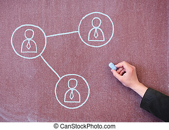 Icons people with connections drawn in chalk on the blackboard. Concept of education and communication.