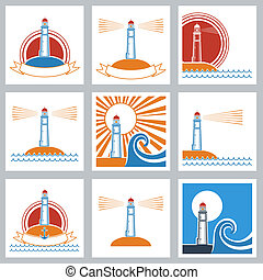 icons., phare, couleurs