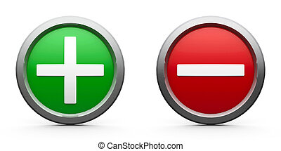 Web buttons plus & minus isolated on white background, three-dimensional rendering
