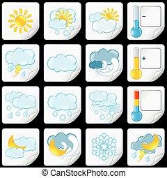icons., prévision, papier, temps, autocollants, dessin animé