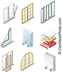 icons., productos, vector, edificio