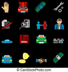 icons related to purchasing a car - icons or design elements...