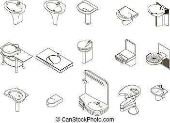 Icons sanitary sink