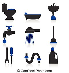 Set of icons on a theme sanitary technicians. A vector illustration