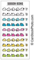 icons season color blck blue pink Yellow green vector on white background