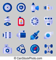 icons set about Car Engine. with manifold, belt, valve,...