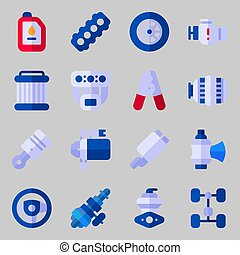 icons set about Car Engine. with wheel, piston, sreering...