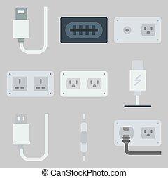 icons set about Connectors Cables . [keyword Random:3]