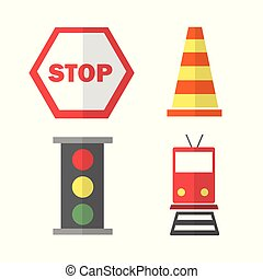 icons set about Transportation. with train, stop sign, cone...