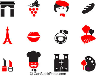 Icons set and design elements with French and Paris themes. Vector cartoon.