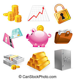 Icons set - Bank, finances and stock-market icons