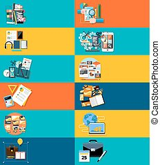 Icons set banners for business - Icons set banners for...