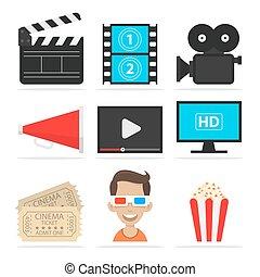 Icons set cinema