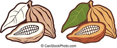 Icons set cocoa beans