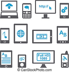 Icons set computers and mobile devices vector. Multimedia...