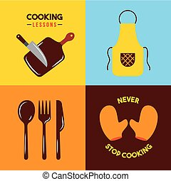 icons set cooking lessons