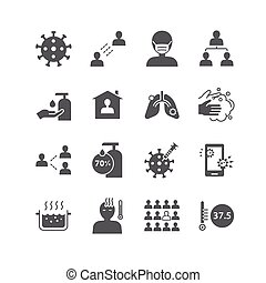 icons set coronavirus covid-19 design.