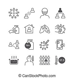icons set coronavirus covid-19 thin line design.