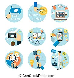 Icons set for business, e-shopping, logistics - Set of flat...
