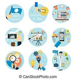 Icons set for business, e-shopping, logistics - Set of flat...