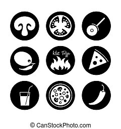 Icons set for Italian pizza.