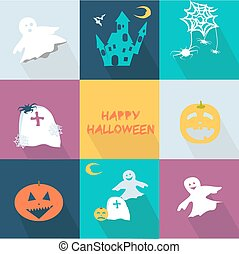 Icons set for the halloween party