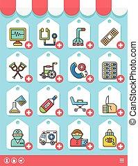 icons set hospital vector