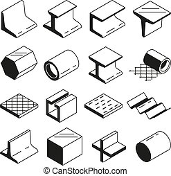 Icons set in monochrome. Metallurgy production. Vector pictures of steel isolate on white