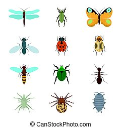 Icons set insects flat - dragonfly, beetle, butterfly, fly, ladybug, koroladsky beetle, wasp, bronzovik ant, tick, a spider, wood louse, vector