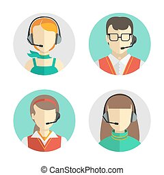 Icons set Male and female call center avatars in a flat style with a headset, conceptual of communication.