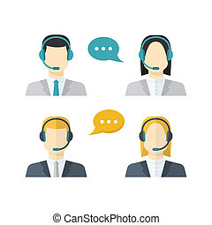 Icons  set Male and female  call center avatars in a flat style