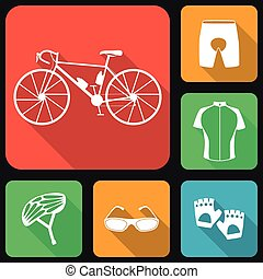Icons set of bicycle uniform