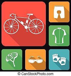 Icons set of bicycle uniform