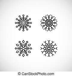 Icons set of black snowflakes. Vector isolated illustration.